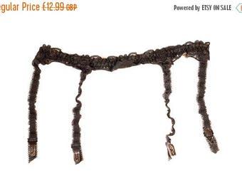 """Vintage 1970's Floral Lace Band Suspender, Garter Belt. Waist Circumference: 23 - 29"""""""