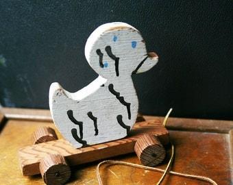 Vintage Duck Pull Toy / Handmade Wooden Toy / Vintage Pull Toy / Nursery Decor / Monochrome Nursery / Duck / Handpainted