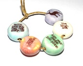 Ceramic Quote Bead Word Beads Set Handmade Affirmation Deer