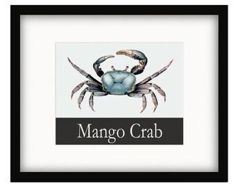 Coastal Décor Mango Crab Vintage Style Poster
