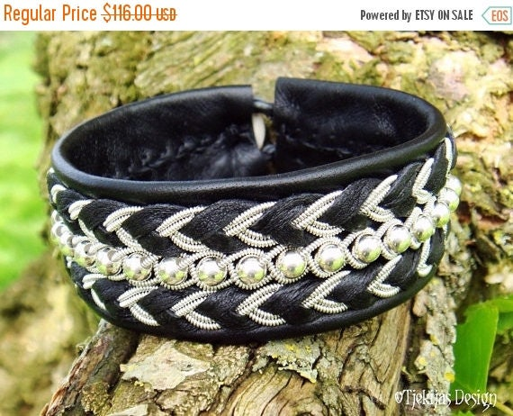 Sami Bracelet BESTLA Swedish Lapland Reindeer Black Leather Cuff Bracelet with Sterling Silver beads - Handcrafted Tribal Elegance