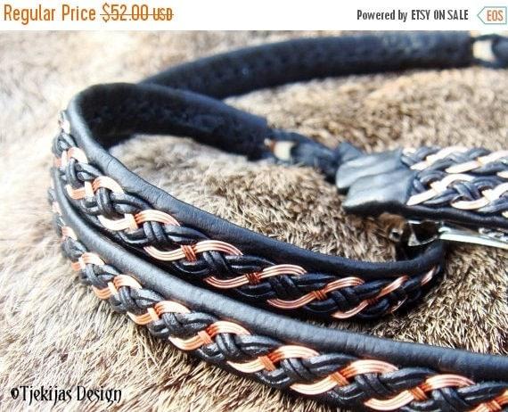 Sami Bracelet with Copper Braid DRAUPNIR Swedish Bracelet in Black Reindeer Leather with Antler Button - Handcrafted Tribal Elegance