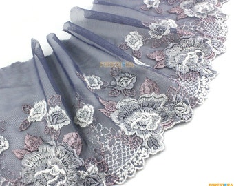 Terylene Lace Trim Dark Blue Tulle Lace Trim Floral Embroidery Lace Trim 12cm Width -- 2 Yards (LACE504)