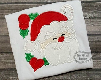 Santa Face with Holly - Embroidered and Personalized Shirt - Colored shirts are Extra -