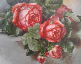 Large Vintage Tin Plate Shabby Roses