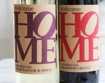 New Home, Open House,Realtor Closing Gift, Client Gift, Realtor Wine Label, Set of 18