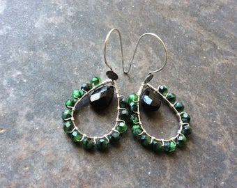 Wire Wrapped Teardrop Hoop earrings with Green and Black beads and Bali Sterling Silver earwires