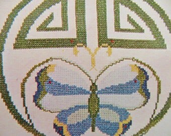 Butterfly Counted Cross Stitch Kit, Ibex Kit 10, Vintage 70s Embroidery Kit, Art Nouveau Nature Theme, for Wall Decor or Pillow Top