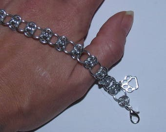 Chainmaille Paw Print Charm Bracelet or Anklet/PawInspiredCreations