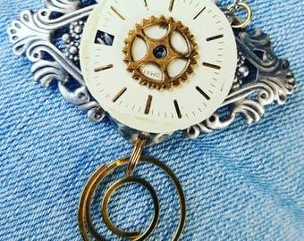 Steampunk Mixed metal Watch face Pendant with Spring Coil Dangle