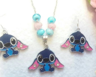Stitch Set of Necklace and Earrings