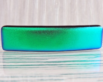 """Small 2-5/8"""" Dichroic Fused Glass Barrette Ponytail Emerald Green Barrette Jewelry Hair Clip Womens Gifts For Her for Girls Under 20 Dollars"""