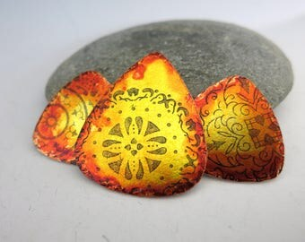 Mandala Pick Set, Guitar Pick Charms and Pendant, Hand Painted & Stamped, Ready To ship