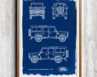 Land Rover Defender 110 A4 Hand coated traditionally made cyanotype blueprint