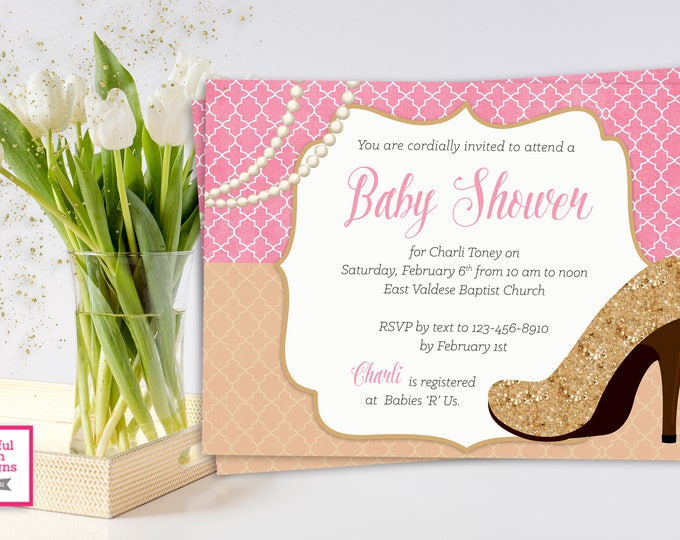 GLITTER AND PEARLS Baby Shower Invitation, Pink and Gold Glitter Baby Shower Invitation, Glitter, Sparkly Baby Shower, Pink and Gold Sparkle