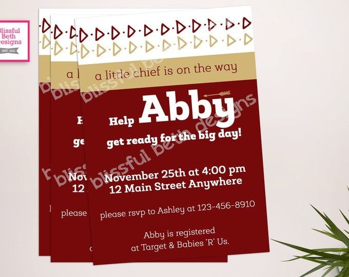 NOLE BABY SHOWER Seminole Baby Shower Invitation, Florida State Baby Shower Invite, Noles Shower, Nole Invitation, Florida State Baby Shower
