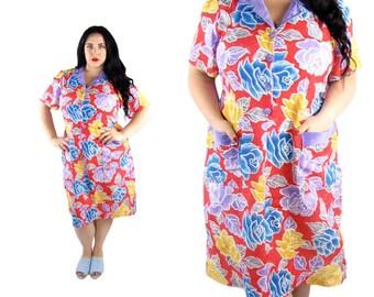 Plus Size 1960's Floral House Dress - Size 1X