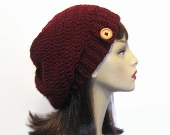 Burgundy Crochet Slouch Hat Maroon Hat Dark Red Oversize Slouch Hat with Button Crochet Beanie Wine knit Hat Wine Beanie Women Slouchy Tam