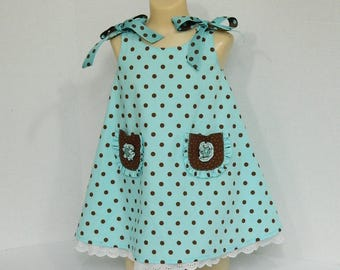 Girls' Blue Polka Dot Dress - Size 1 Toddler Dress - Blue and Brown Polka Dot Print - Spring Summer Clothing - OOAK Sleeveless Dress - Party