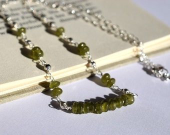 Vesuvianite Necklace, Green Stone Necklace, Olive Green Necklace, Sterling Necklace, Wire Wrapped Necklace, Moss Green Bar Necklace