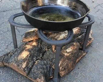 """Firepit insert stand, heavy duty stand for 12 qt. dutch ovens & 17-20"""" skillets, use in outdoor kitchens.  MADE to ORDER"""