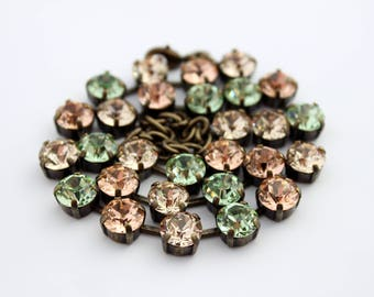Swarovski necklace, peach and mint necklace, rhinestone necklace, peach necklace, Chrysolite necklace, bridesmaid necklace, peach wedding