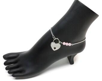 BDSM Locking Anklet, Pink Locking Slave anklet, Pink Slave Anklet, BDSM Anklet Heart Lock, BDSM Jewelry, Rose Quartz Delicate Anklet