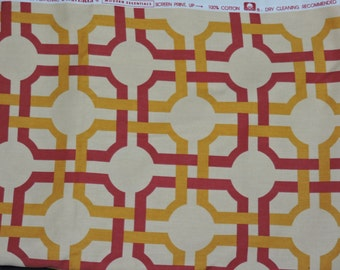 Waverly Groovy Grille Fabric 3 yds Red Orange Home Decor Cotton Modern Essentials Pillow Drape