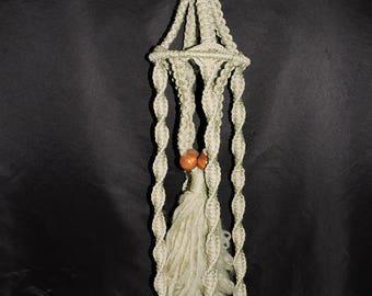 "Vintage Brown Jute Macrame Plant Hanger 64"" Long Hanging Pot Holder Natural Wood Beads Hippie Boho 70s"