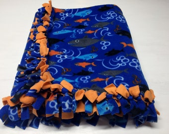 Homemade, Hand Tied, Under The Sea Fleece Blanket