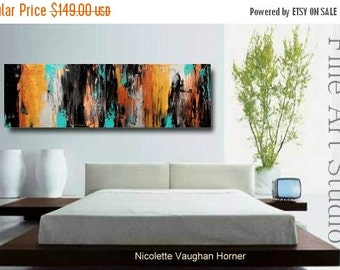 "Sale Original abstract Oil gallery canvas contemporary palette knife 48""abstract  painting by Nicolette Vaughan Horner"