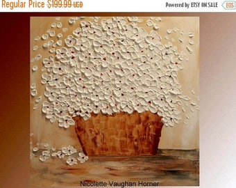 2 DAY SALE Original   abstract contemporary fine art  palette knife floral painting by Nicolette Vaughan Horner