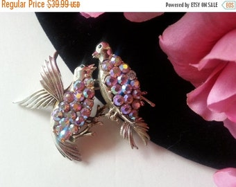 Christmas Sale Coro Signed Brooch - Pink Aurora Borealis Rhinestone Bird Brooch - 1950's 1960's Collectible Pin - Vintage Figural Jewelry