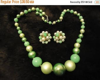 Now On Sale Vintage Japan Green Necklace & Beaded Earring Set 1950's 1960's Retro Old Hollywood Glam Collectible Mad Men Mod  Jewelry