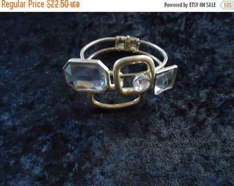 On Sale Vintage Rhinestone Chunky Clamper Bracelet 60s 70s Mad Men Mod Old Hollywood Glam Retro Rockabilly Vintage Jewelry