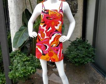 Vintage 1970's Hale Muu Multi Colored Psychedelic Print Sun Dress - Size 2