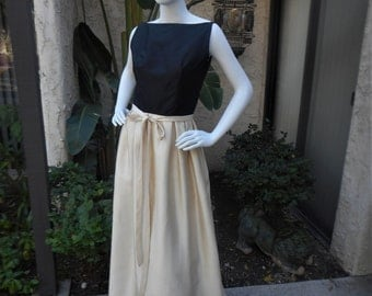 Vintage 1960's Nina Ricci Black and Ivory Silk Evening Dress or Sophisticated Bridal - Size 6