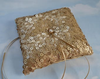 Gold sequin ring bearer pillow. Wedding ring cushion.