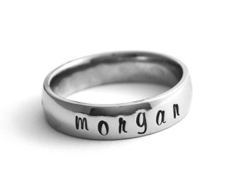 Personalized ring - Any name or words that fit - hand stamped st. steel - 5mm shiny stainless steel comfort fit band - Sizes 5,6,7 or 8