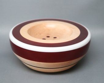 Handcrafted Wooden Ring Coin Dish made of Maple with Rich Red Resin Top an White Pearl Inlay Wedding Engagement Gift, Collectible Modern Art