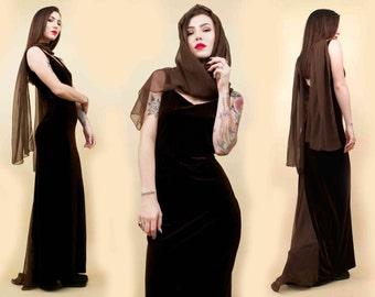 90s Vtg Chocolate Brown VELVET Supermodel Floor Length Chiffon Scarf & Gown / Statuesque Column Dress MERMAID Cut / Sm