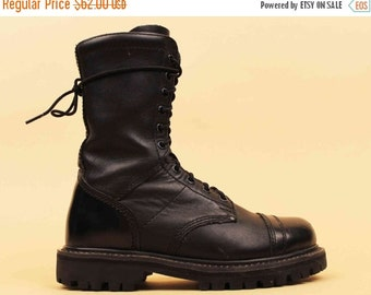 """20% OFF 1DAY SALE 80s 90s Vtg Black Genuine Leather Dual Lace & Zip Up """"Rocky"""" Ankle Boot / Tank Girl Jump Army Military Rugged Biker Punk /"""