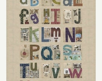 15% off thru 3/31 STUDIO ALPHABET~Windham DIGITALLY printed  fabric panel~54 in by 44 inches ~41788P by Marcia Derse