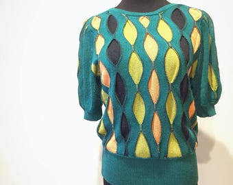 Vintage sweater, short sleeve pullover, size fits XS S M, emerald green