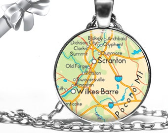 Scranton Wilkes Barre Pennsylvania Necklace PA Map Pendant