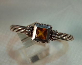 Sterling Cable Bracelet with Faceted Citrine Stone