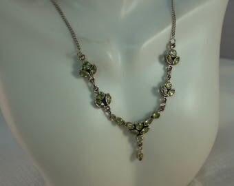 1980's Sterling Peridot Festoon Necklace