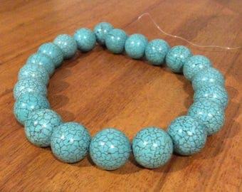 Blue magnesite gum ball beads DESTASH