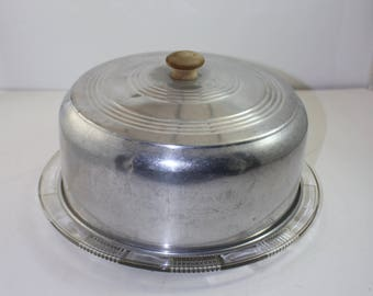 Glass Cake Plate with Aluminum Cover