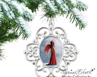Red Fairy Christmas Tree Ornament - Red Faerie Ornament - Christmas Angel Charm- Angel Ornament with Artwork by Shawna Erback